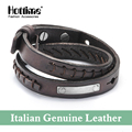 Hottime New Design Fashion 2 Layer Slake Italian Genuine Leather Bracelets & Bangles With Vintage Cowhide Couple Jewelry PG015