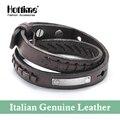 Hottime nueva manera del diseño 2 capa disgregan pulseras y brazaletes de cuero italiano genuino con piel de vaca de la vendimia joyería de los pares pg015
