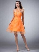 Short A-linie Mini Halter Orange Ballkleider Mit Straps Junioren Perlen Tiered Organza Urlaub Partei Kleider 2015 cd7903