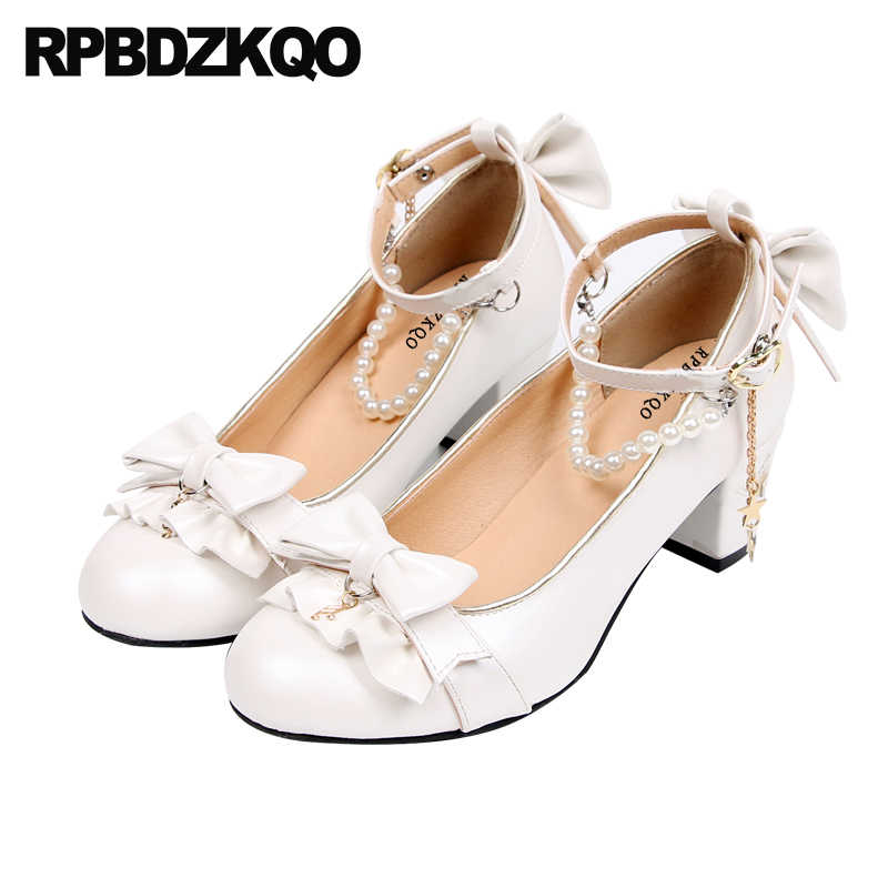 43ff058d7de White Chunky Round Toe 2018 Ankle Strap Discount Women Cute Japanese Bow  Sweet Lolita Shoes Size