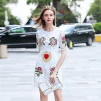 Women Dresses 2018 High Quality Runway O Neck Short Sleeve Lace Embroidery Lady Dress NPD0852N