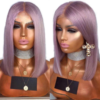 SimBeauty Colorful Short Bob Lace Front Human Hair Wig Light Grey/Blue/Pink/Purple Straight Full Lace Wig Brazilian Remy Hair