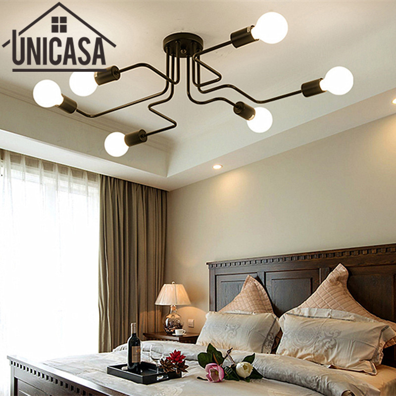 Vintage Bar Multiple Rod Wrought Iron Ceiling Lamp Lights For Home Lighting E27 LED Bulb Living Room Art deco Industrial antique tiffany mediterranean style peacock natural shell ceiling lights lustres night light led lamp floor bar home lighting