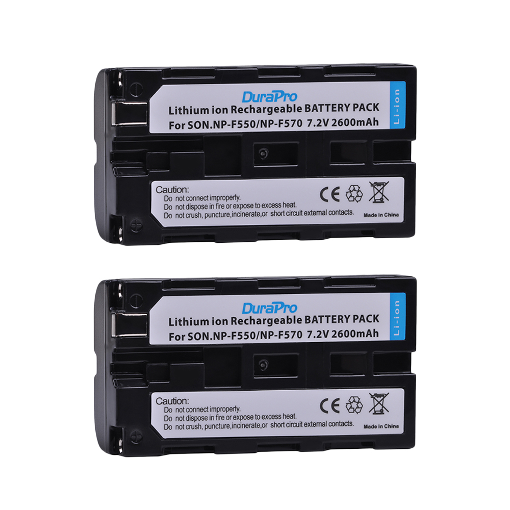DuraPro 2pc NP-F550 NP-F570 7.2V 2600mAH Li-ion battery for Sony np f550 f570 CCD-SC55 CCD-TRV81 DCR-TRV210 MVC-FD81 Camera