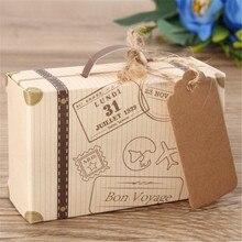 50pcs Travel Wedding Favor Boxes Rustic Wedding Favour Suitcase Kraft Candy Boxes Sweet Gif