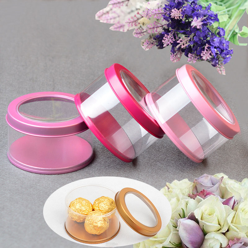 30 pcs/lot clair PVC bonbons boîtes 7.5*4.5cm cosmétique échantillon vide conteneurs rond couvercle petite once pour baume à lèvres Salve étui de maquillage