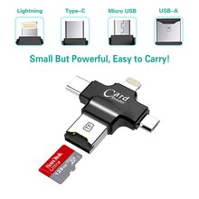 Micro SD Card Reader Caithly 4 in 1 Card Reader Type-C USB Connector OTG HUB Adapter, TF Flash Memory Card Readers ingelon type c micro sd card reader 3 in 1 otg usb c rs mmc flash memory for iphone ipad samsung macbook adapter micro sd reader