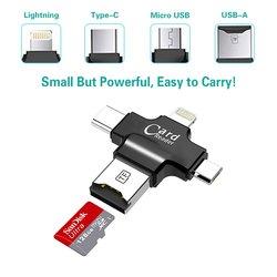 Micro czytnik kart SD Caithly czytnik kart 4 w 1 złącza USB typu C OTG piasta  TF pamięci Flash czytniki kart