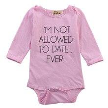 Милые Одежда для новорожденных девочек Симпатичные длинным рукавом Письмо розовый Боди Детские комбинезоны одним Pieces