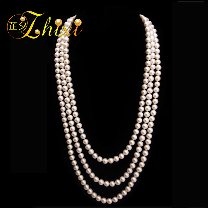 ZHIXI Pearl Long Necklace Fine Jewelry Natural Pearl Necklace Women Round 8-9mm Classic Sweater Chain Anniversary Gift N001 [daimi] grey color pearl necklace 160cm long sweater chain natural pearl long necklace 8 9mm rice pearl beach style 2017 new