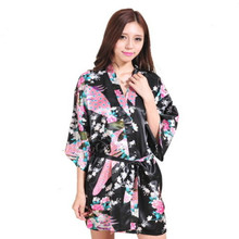 2015 Japanese Style Sex Women Silk Robe Wedding Bridesmaid Sleepwear V-Neck Kimono Bath Gown Mujer Pajama S/M/L/XL/XXL/XXL Black(China)