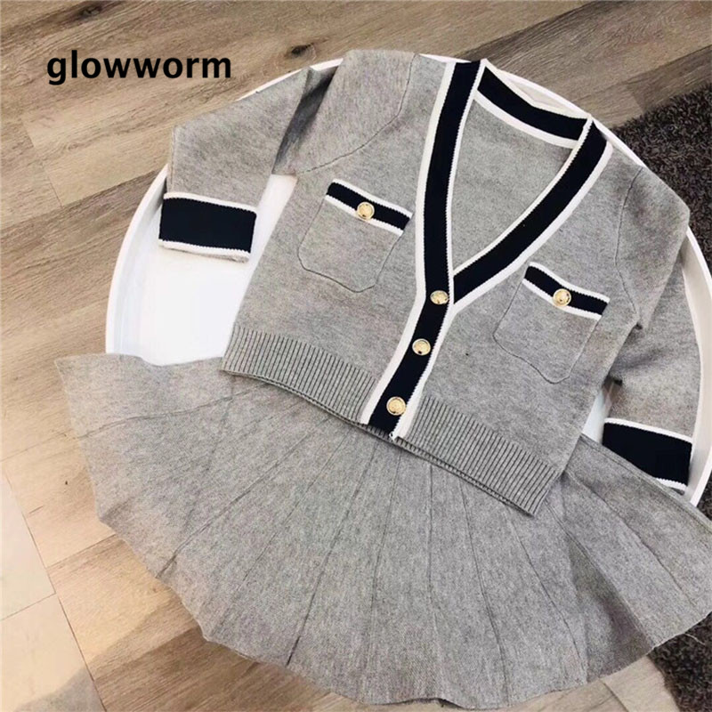 Glowwormkids 2018 New Autumn Winter Baby Girls Knitting Short Skirt Suit Long Sleeve Knitted Cotton Pleated Skirt Hepburn style dabuwawa autumn women fashion sexy plaid skirt elegant mini pleated skirt short streetwear asymmetrical skirt d17csk031 page 1
