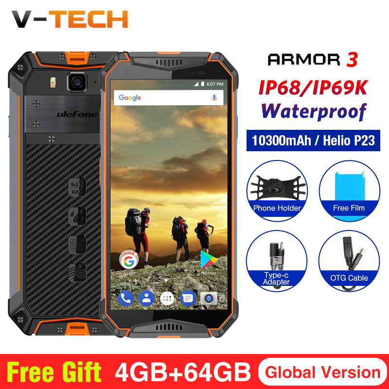 "Ulefone Armor 3 IP68 Waterproof Cell Phones Android 8.1 5.7"" FHD+ Octa Core 4GB+64GB 21MP 10030mAh Global Version Smartphone"