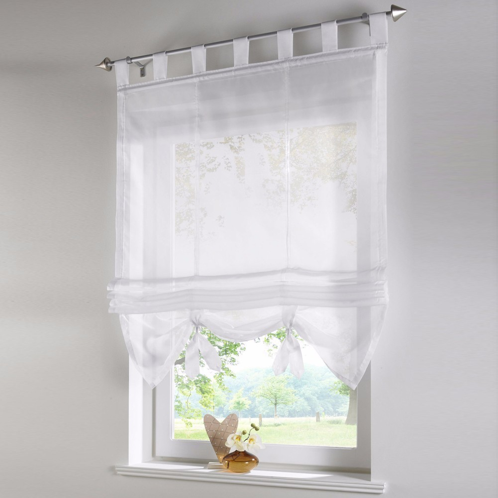 Kitchen Short Curtains Roman Blinds White Sheer Tulle: Vertical Blind Tulled Curtains Jacquard Roman Blinds