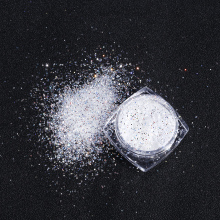 1Box=3g Ultra-Fine Hexagon White Nail Pigments Powder 0.2/0.3/0.4mm Mirror EFFECT Glitter Gel Polish Dust 8 colors