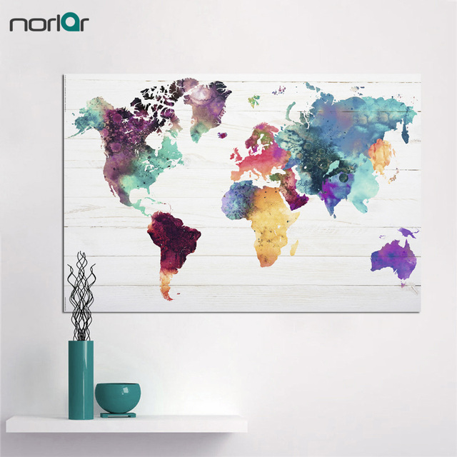 carte du monde peinture sur toile wall art image pour. Black Bedroom Furniture Sets. Home Design Ideas