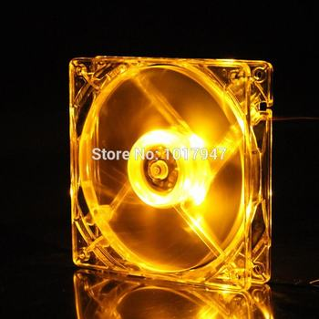 50 Pieces LOT Gdstime Yellow LED DC 4pin 12V Brushless Cooler Cooling Fan 80mm 80x80x25mm 8025S