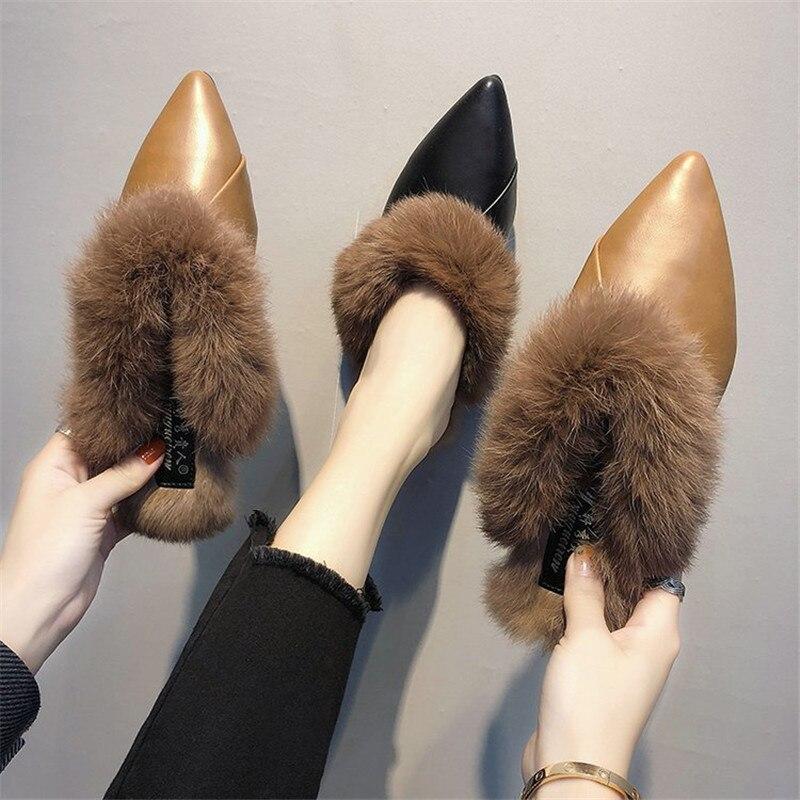 Mules Pour Noir Italien Luxe marron Mulher Chaussures D'ete Femme Sapatos Designer 2018 De Haute Diapositives Femmes Fourrure Talons Valentine OP80knw