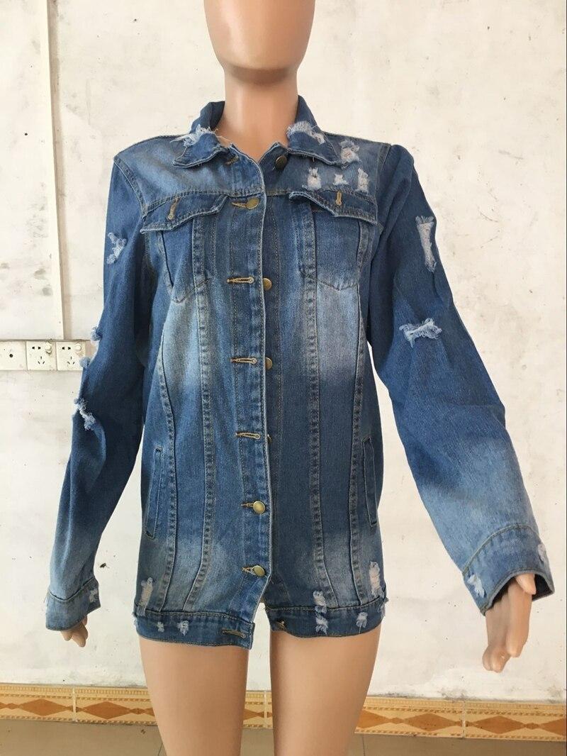 Autumn Winter Women Hole Denim Jacket 18 Harajuku boyfriend Wind Jean Jacket Loose Long Sleeve Female Coats Large Size Female 1