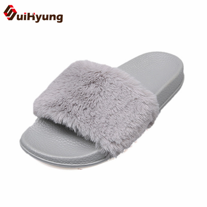 Suihyung Autumn Winter Women Slippers Indoor Shoes Soft PU Platform Home Floor Slippers Female Faux Fur Flat Slippers Footwear