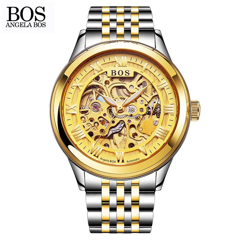 ANGELA BOS Automatic Mechanical Watches For Men Gold Stainless Steel Skeleton Waterproof Sapphire Luminous Watches Branded angela bos ceramics stainless steel skeleton automatic watch mens mechanical waterproof date week luminous wrist watches men