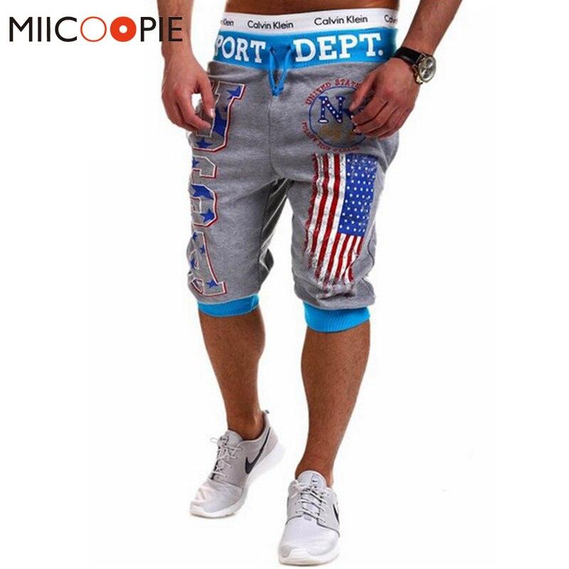 Summer 2017 Men Hip Hop American USA Flag Jogger Shorts Skinny Beach Shorts Casual Half-length Trousers Sweatpants Fitness Man