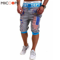 Summer 2017 Men Hip Hop American USA Flag Jogger Shorts Skinny Beach Shorts Casual Half-length Trousers Sweatpants Fitness Man