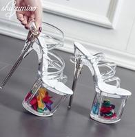 Women shoes Sandals Steel Pipe Dance Shoes Super High Heel 18cm Peep Toe Buckle Strap Thick Soles Platforms Bridal Shoes