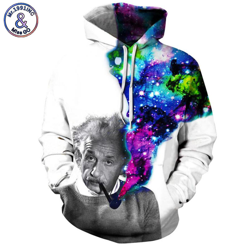 Mr.1991INC Newest Style starry sky Einstein Printing Casual Sweatshirts Men/women hoodie sweatshirt Hot Hooded Pullovers M247