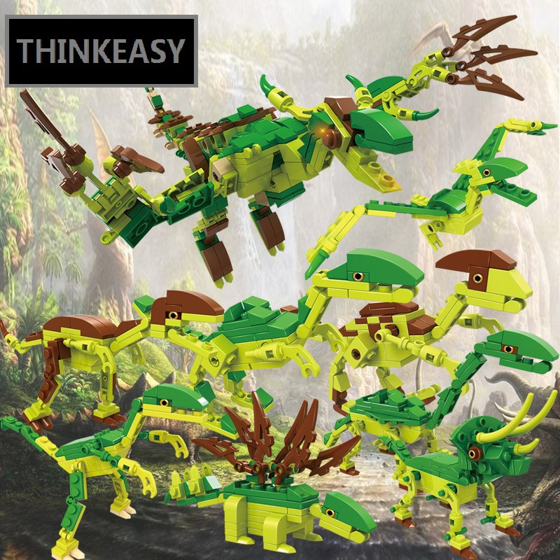 8 In 1 Super Dinosaurs Transformation Robot Jurassic T-raxToys Action Figures Block Toys For Kids Birthday Gifts original alloy transformation4 robot toys action figure transformation car robot classic toys for boys juguetes for gifts toys
