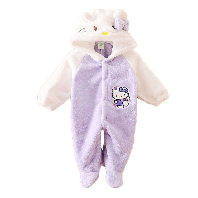 Cute Newborn Baby Rompers Cartoon Hooded Winter Baby Clothing Thick Flannel Baby Girls Outfits Baby Boys Jumpsuit Infant Clothes newborn baby girls rompers cotton padded thick winter clothing set cartoon bear infant climb hooded clothes babies boy jumpsuits