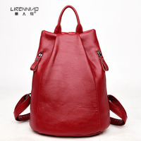 LIRENNIAO Women Backpack Luxury Hot2017 Fashion High Quality Leather Backpacks For Teenage Girls Female School Shoulder