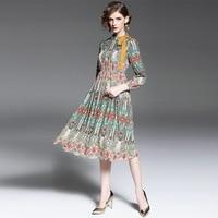 Printed Dress Women 2017 Spring Summer Clothes Fashion Neckline Lacing Long Sleeved Elastic Waist Slim A