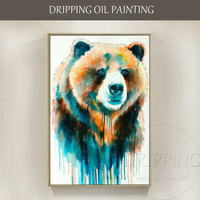 Free Shipping Colorful Wall Art Hand painted Animal Brown Bear Oil Painting on Canvas Rich Colors Water Style Bear Oil Painting