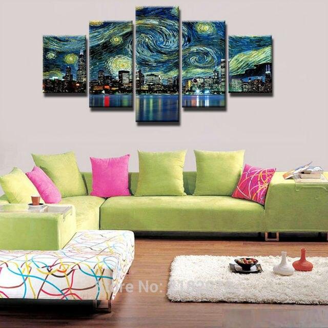 5 Pezzi HD Stampa Pittura Geometrica Astratta Foto Di Paesaggio Per Camere  Camera Living Home Decorazione