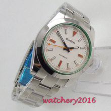 39mm Bliger White Dial Luminous marks Stainless steel Case Automatic Movement men's Watch цена и фото