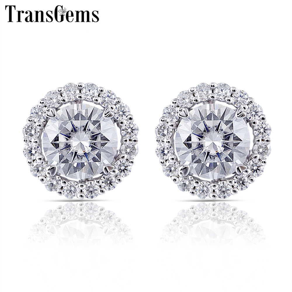 все цены на Transgems 10K White Gold Center 5.5mm F color Clear Moissanite Stud Earring with Accents Jackets Push Back for Women