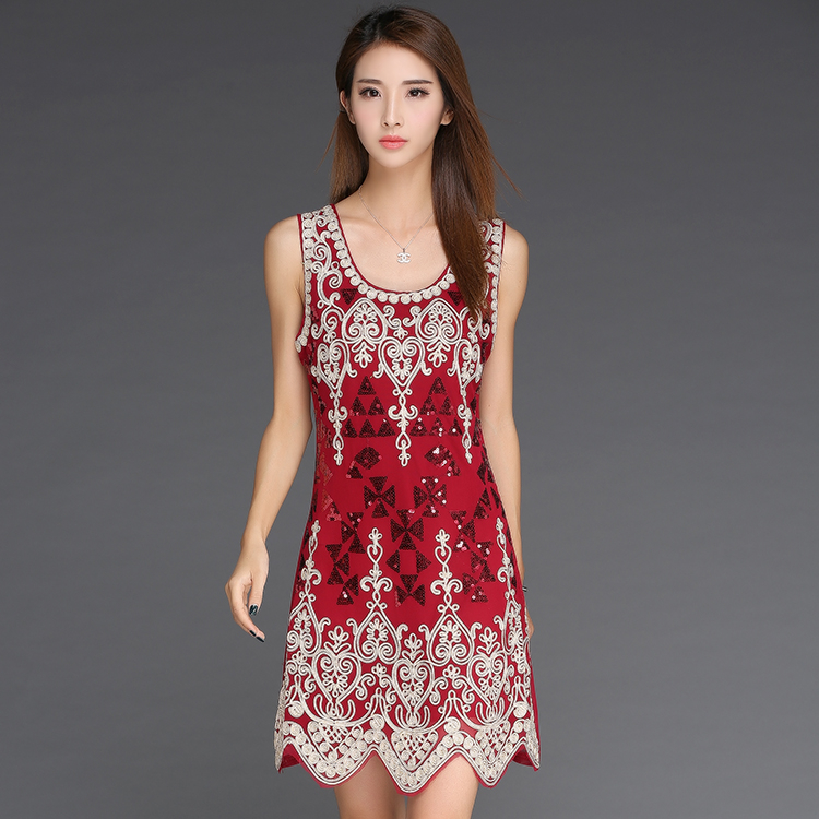 Buy Cheap Sexy Embroidery Flower Sequined Nightclub Bag Hip Red sequin dress vestidos de fiesta LM0117