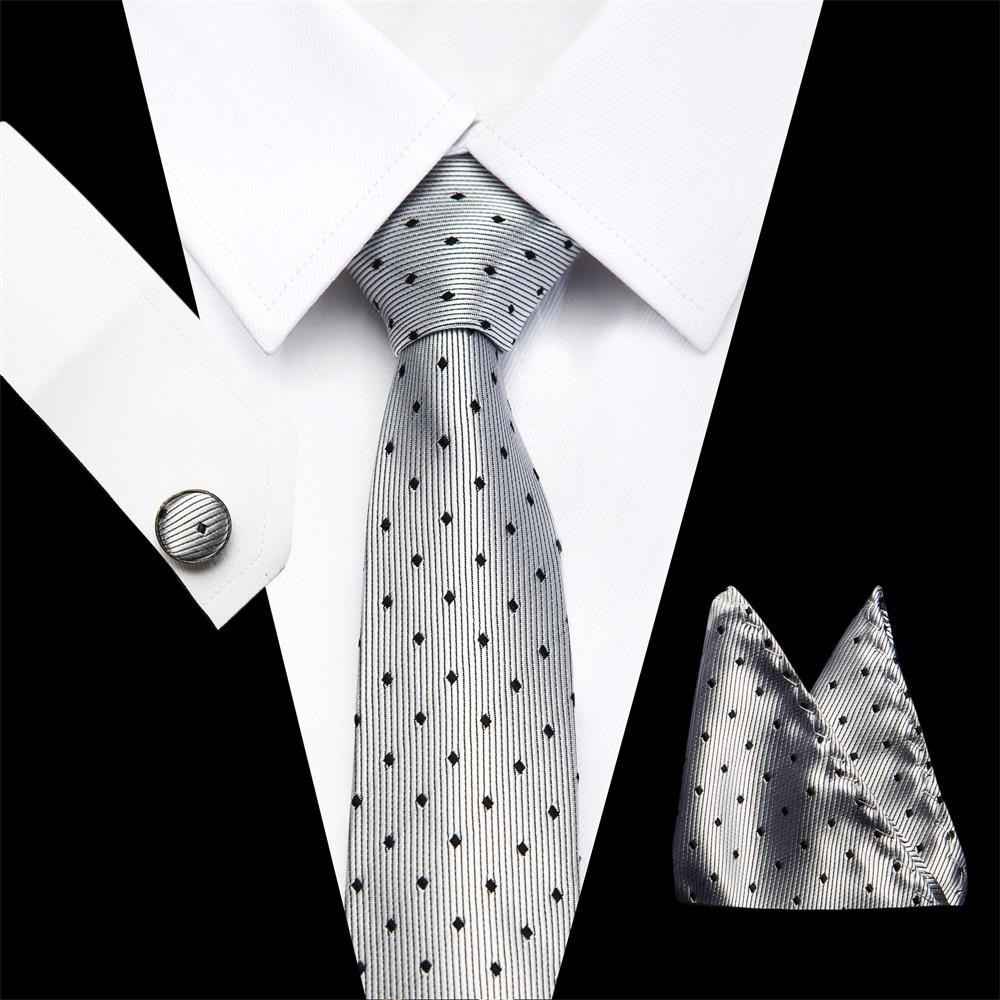 Brand New Polka dot Solid Color Tie Set 7.5cm Black Grey Necktie Gravata Pocket Square Paisley Silk Tie Handkerchief Cufflinks
