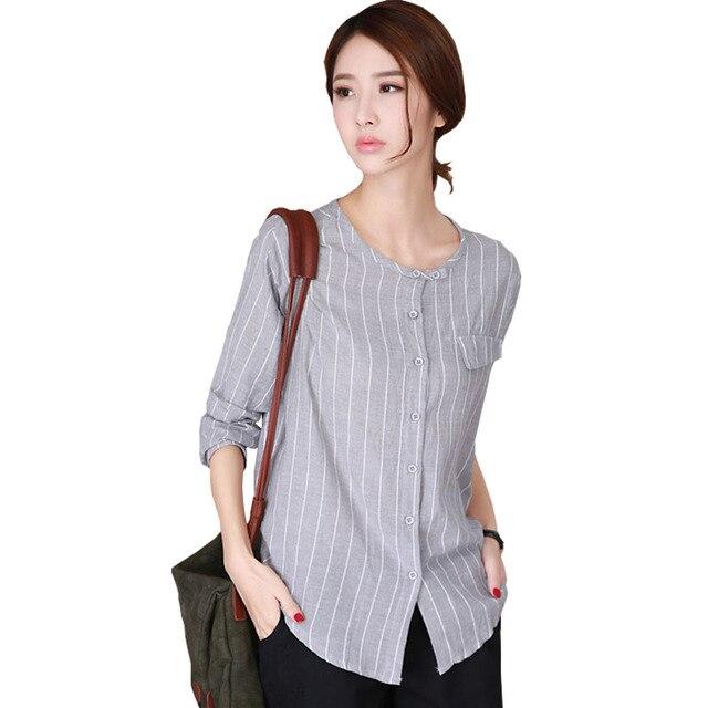 c904c524e0 Vetement Femme Coreano Camisa de Las Mujeres 2017 Stand Camisas Femeninas  Blusa A Rayas Para Mujer