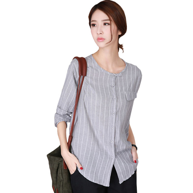 Vetement Femme Korean Shirt Women 2017 Stand Female Shirts Blouse Striped Womens Tops And Blouses Long Sleeve Plus Size Blusas