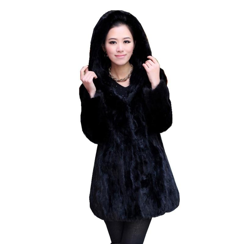 Роскошная Шуба из натурального меха норки с капюшоном, зимняя женская меховая верхняя одежда размера плюс 3XL 4XL 5XL LF4321
