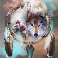 DIY diamond paitning animal wolf feather full embroidery head with round home decor mosaic