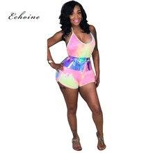 Echoine Rompers Women Jumpsuit Tie-Dye Print Hot Sexy Halter Lace Up Backless Catsuit Short Pants Female Playsuit Summer Clothes