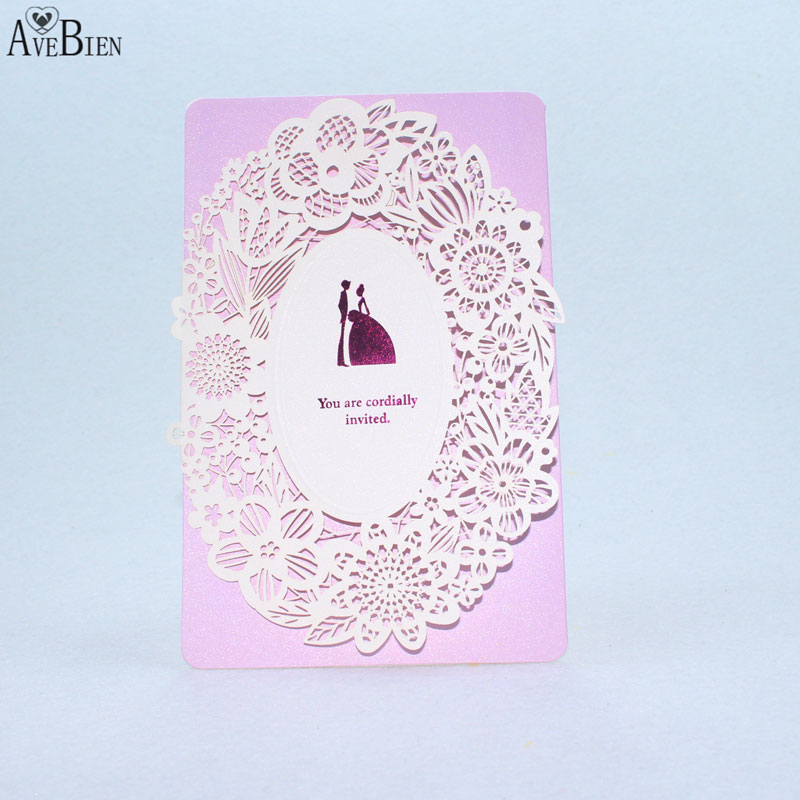 1pcs Sample Purple Wedding Invitation Delicate Carved Craft Romantic Cards  Event Party Supplies Invitation Envelope Dinner