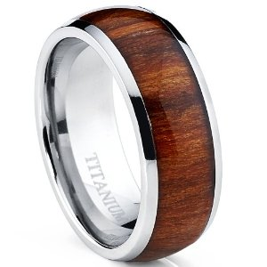 Men\'s Domed Pure Titanium Brown Wood Ring Engagement Ring Camouflage  wedding band(China (Mainland