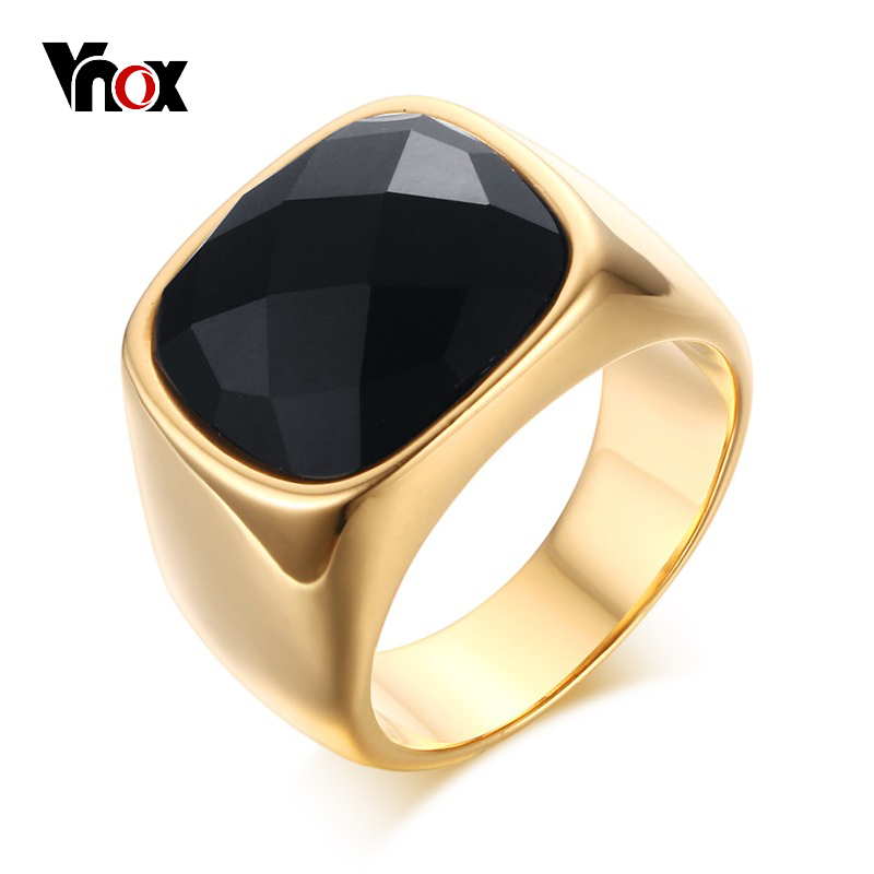 Vnox Gold Color Men Ring High Quality Stainless Steel Punk Rocky Male Alliance Jewelry US Size 8 9 10 11 tgr098 a 10 stainless steel male ring size 9