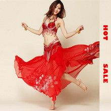 Belly Dance Skirt 3 Pieces(bra +belt + Skirt) Belly Dance Costume Set Egypt Bollywood Indian Costumes Red/purple Beading Wear