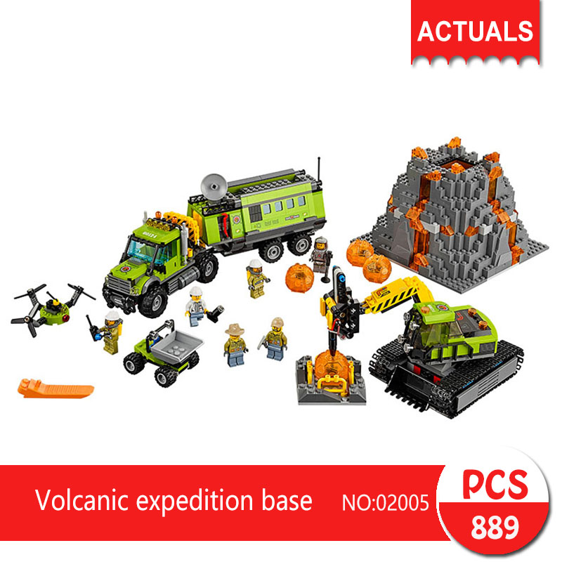 bela 02005 889Pcs City series Volcanic expedition base Model Building Blocks  Bricks Toys For Children Gift 889pcs city volcano exploration base model building blocks 02005 assemble bricks children cars toys sets compatible with lego