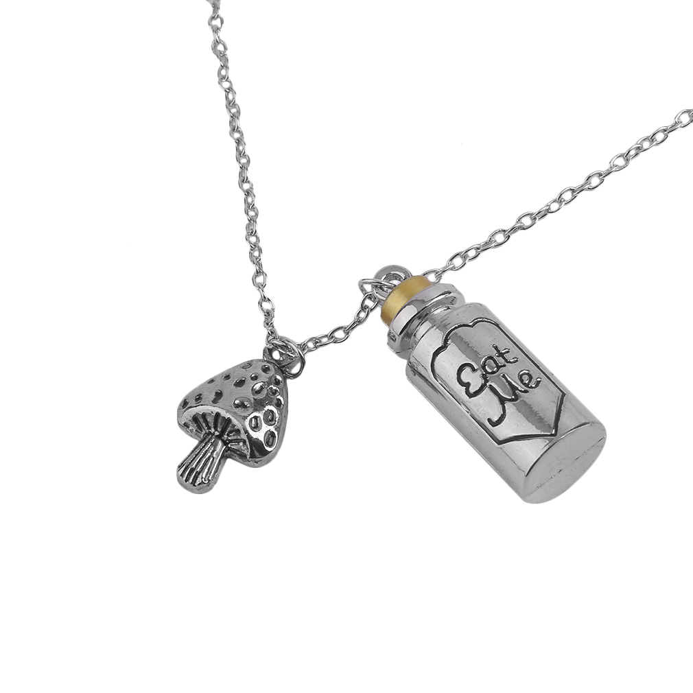 GENBOLI Drink Me And Eat Me Letter On Little Wishing Bottle Pendant Long Necklace for Women Fashion Jewelry Accessories